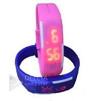 Часы браслет силиконовые, время, дата, секунды, спортивные часы, противоударные, батарейка, легкие и удобные, Фитнес-браслет