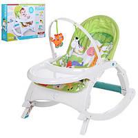 Шезлонг-качалка детский 7988  3в1(стульчик)дуга,подвес2шт,муз,вибро,д70-ш50-в62,бат,кор,салат