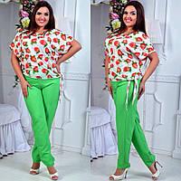Красивый летний костюм двойка для стильных женщин, блузка и брюки, батал большие размеры