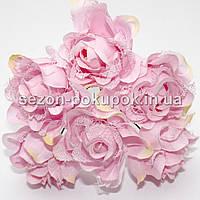Роза тканевая с кружевом d=3,5-4см  (цена за букет из 6 шт). Цвет - НЕЖНО РОЗОВЫЙ