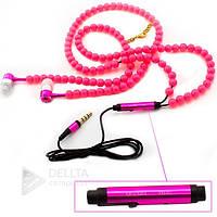 Наушники бусы Necklace 555, mini jack 3.5 mm, с микрофоном, шнур в виде бус, вакуумные наушники