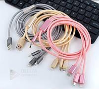 Кабель, провод USB 3 in 1 (iphone 5, micro, type c), Юсб переходник 3 в 1 для iphone 5
