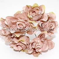 Роза тканевая с кружевом d=3,5-4см  (цена за букет из 6 шт). Цвет - ТЕМНО РОЗОВЫЙ