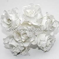 Роза тканевая с кружевом d=3,5-4см  (цена за букет из 6 шт). Цвет - БЕЛЫЙ