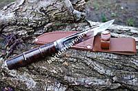 Нож Финка рукоять из наборной кожи  сталь 440с +кожаный чехол