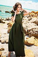 Женское платье в пол с перфорацией по низу, материал креп. Цвет оливковый