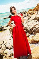 Женское платье в пол с перфорацией по низу, материал креп. Цвет красный