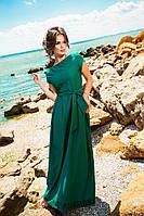 Женское платье в пол с перфорацией по низу, материал креп. Цвет зеленый