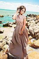 Женское платье в пол с перфорацией по низу, материал креп. Цвет бежевый
