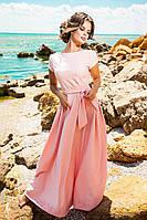 Женское платье в пол с перфорацией по низу, материал креп. Цвет пудра