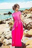 Женское платье в пол с перфорацией по низу, материал креп. Цвет малиновый