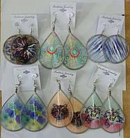 Плетенные серьги из нитей с рисунками (12 шт), серьги RRR 3148