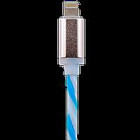 Кабель USB - Lightning 1м W-Bl (силикон) бело-голубой / Retail