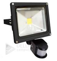 Прожектор светодиодный LED с датчиком FL-20W-S, 750 лм, IP67, от сети, 6400 К, Светодиодный прожектор