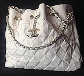 Сумка женская, искусственная кожа кремовая by Chanel