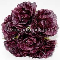 Роза  пышная d=3,5-4см  (цена за букет из 6 шт). Цвет - МАРСАЛА(свекольный)