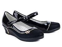 Стильні чорні туфлі для дівчинки р 34