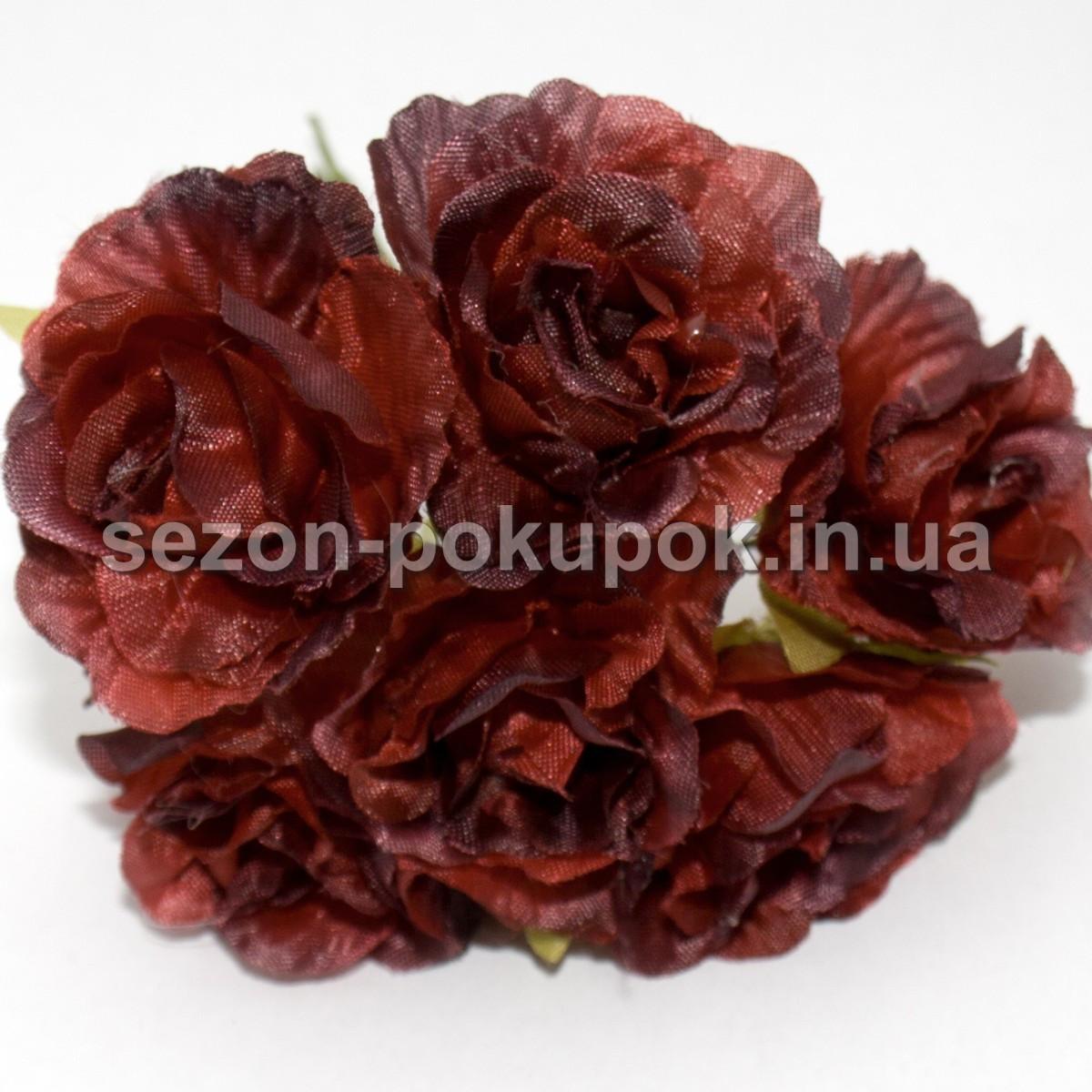 Роза  пышная d=3,5-4см  (цена за букет из 6 шт). Цвет - ТЁМНО-КРАСНЫЙ(бордо)