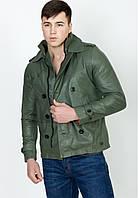 Куртка кожаная, зеленая