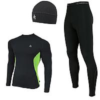 Мужской спортивный костюм для бега Radical Intensive(original) компрессионная спортивная одежда,тайтсы+рашгард M, Черный