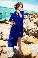 Яркое летнее платье-рубашка с асимметричным низом. Цвет электрик
