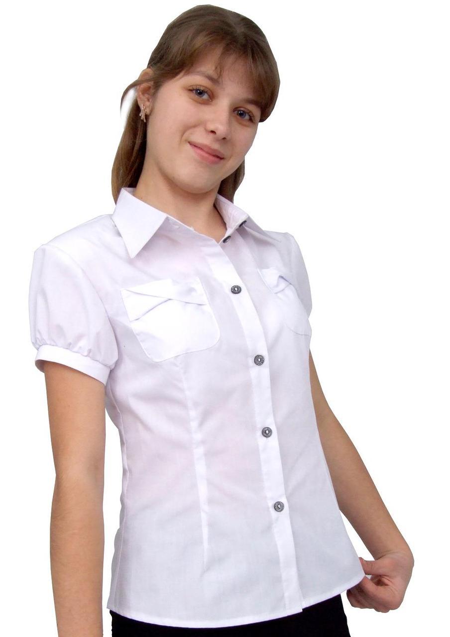 """Блузка детская для девочек школьная М-923  рост 146 и 170 белая тм """"Попелюшка"""""""