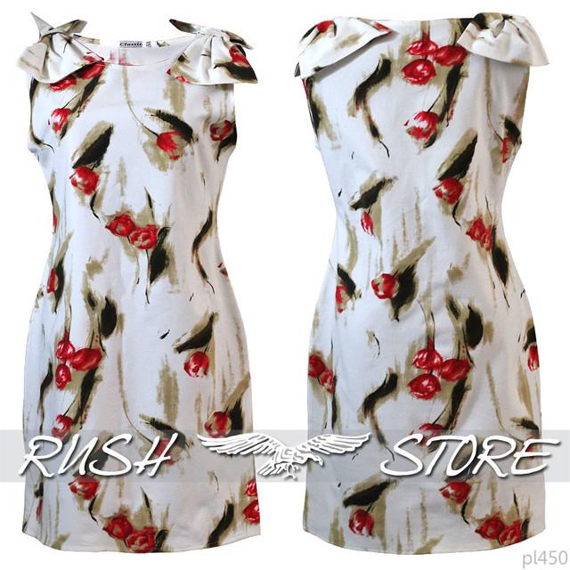 Платье с бантами на плечах