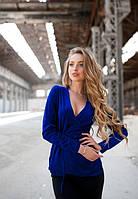Женская синя велюровая кофта на запах до длинного рукава