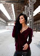 Женская бордовая велюровая кофта на запах до длинного рукава