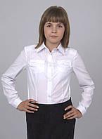 Блузка детская для девочек школьная м 937  рост 134-164 белая , фото 1