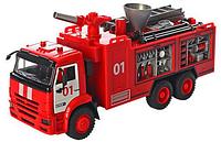 Пожарная машина стреляет водой, сирена, металлическая