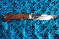 Нож охотничий из кап-березы, 440С сталь, кожаные ножны