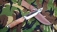 Охотничий и рыбацкий нож из кап-березы, 440С сталь, кожаные ножны