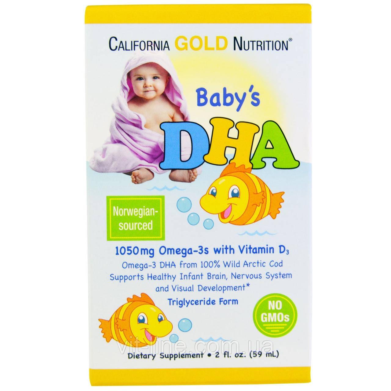 California Gold Nutrition, ДГК для дітей, 1050 mg, Omega-3 Vitamin D3 (59 мл)