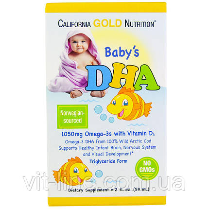 California Gold Nutrition, ДГК для дітей, 1050 mg, Omega-3 Vitamin D3 (59 мл), фото 2