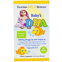 California Gold Nutrition, ДГК для детей, 1050 mg, Omega-3  Vitamin D3 (59 мл)