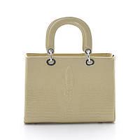 Женская бежевая сумка Dior style crocodile