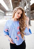 Женская стильная хлопковая рубашка с вышивкой