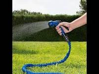 Шланг для полива растягивающийся (силикон+ткань) 45м (синий) + в подарок Пистолет для полива