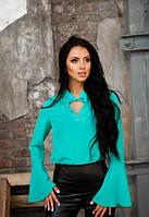 Женская легкая блузка с рукавом фонарик