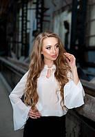 Женская белая легкая блузка с рукавом фонарик