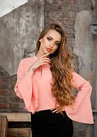 Женская розовая легкая блузка с рукавом фонарик