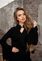 Женская черная легкая блузка с рукавом фонарик