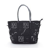Женская сумка с замшевой вставкой черная N969