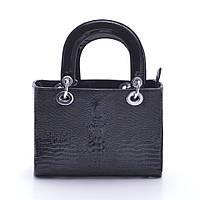Женская сумка черная Dior style mini crocodile