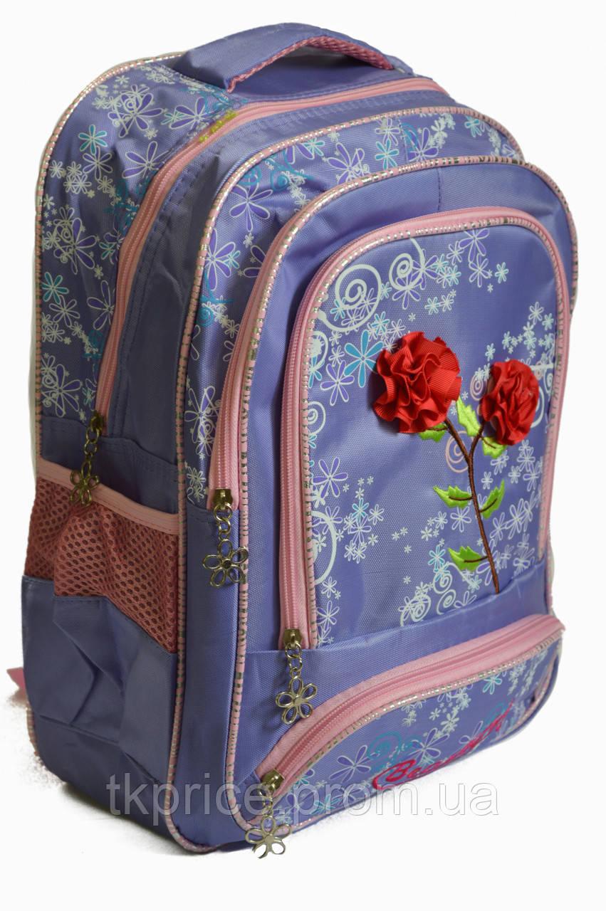 Школьный рюкзак для девочки с 3Д цветочками сиреневый