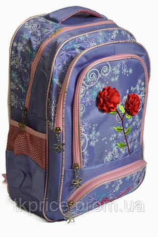 Школьный рюкзак для девочки с 3Д цветочками сиреневый, фото 2