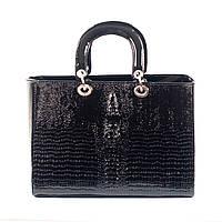 Женская черная сумка Dior style crocodile