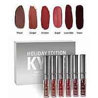 Набор жидких матовых помад Kylie Holiday Edition, 6 штук, Акция