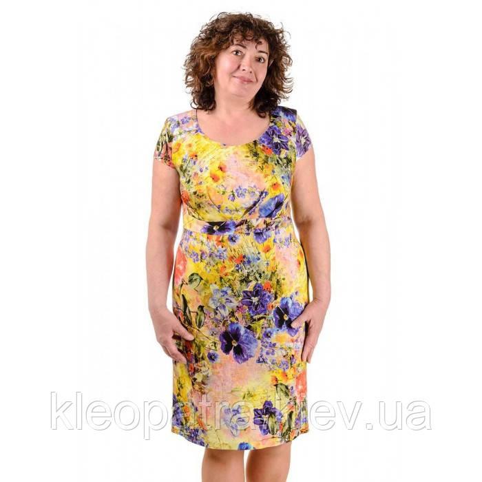 Женское льняное платье летнее Тати батальное